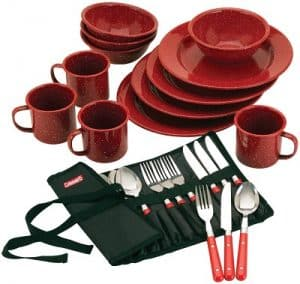 Coleman 24 piece enamel dinnerware set