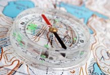 Compass and topographic map