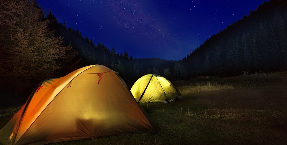 Sleeping under the stars in a tent