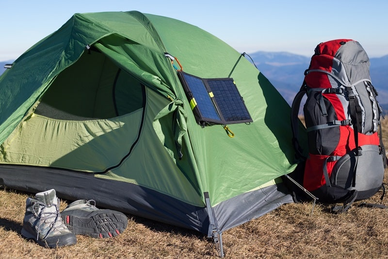 solar panel attached to the tent