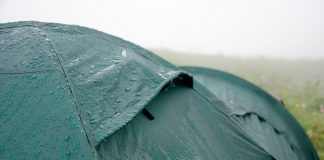 Rain drops on tent